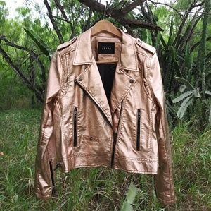 Rose gold moto jacket